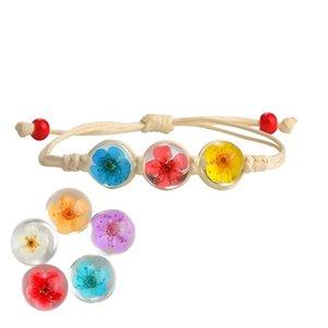 Handmade Dried Flower Bracelet Weave Lucky Glass Ball Wax String Bracelet Bohemia Woven Dried Real Flowers Glass Beads Bracelet for Women
