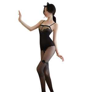 Free shipping women's New Style Sexy Lingerie Sexy suspender dew silk stockings one piece pajamas for women