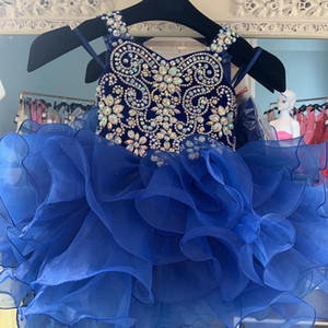 Cupcake Glitz Little Girl Pageant Dress 2020 Royal Blue Velvet Organza Pageant Gown for Infant Toddler Teens Major Beading Crystals Bodice
