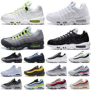Nike air max 95 Lazer Fuşya Koşu ayakkabıları Erkekler Kadınlar için sarı gri kırmızı pembe tüm siyah beyaz Erkek Eğitmenler Spor ayakkabı Sneakers freeshipping