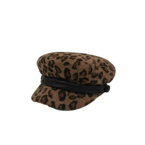 Beret Study Cap Caps Casquette de luxe berretto leopard print ретро повседневная pu декоративный ремень улица съемка регулируемая плоская напечатана коричневая