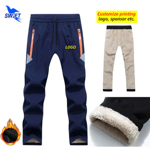 Customize LOGO Long Thick Fleece Kids Softshell Pants Winter Boy Girl Waterproof Outdoor Camping Hiking Skiing Sports Trousers