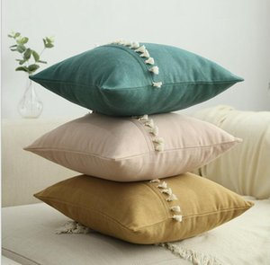Pillow Case Solid Candy Pillowcases Tassel Lace Lint Pillow Covers Home Decorative Cushion Cover Office Sofa Vintage Pillowcase Mat AHD1152