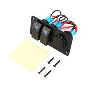2 Gang Car Marine Boat 5 Pin LED Rocker Switch Panel Breaker 3.1A Dual USB Ports Socket Charger Waterproof Circuit