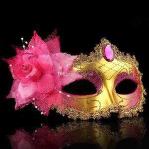Maschere partito di cristallo Moda travestimento viso Venetian Mask catena Rose Perle decorazione di Halloween regalo di Natale Wx9-77