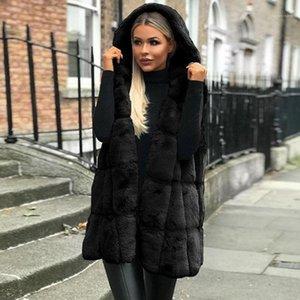Solid Designer Long Outerwear Women Fake Fur Vest Coats Autumn Winter Sleeveless Hooded