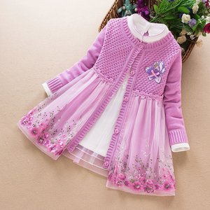 Children clothing set autumn winter stylish kids girl knitted sweater coat + dress two piece suit for girls costume 3-10y