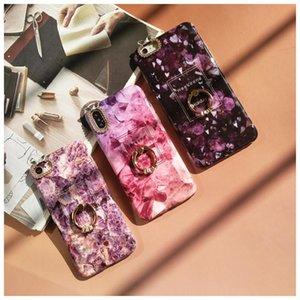 Cgjxs Pour Iphone 6 7 8 6s Plus X Diy Anneau Porte-Jeweled Violet Marbre Case IMD de stand Phone Housse Cas cadeaux Coque