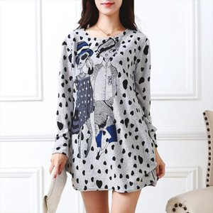 2019 new Long sleeve O neck cashmere sweater large size casual print tunic thin fashion pullovers tops dot polyester cute loose