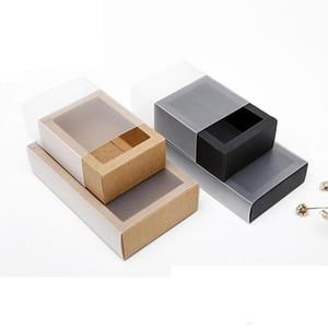 300pcs Free Fast Post Eco Friendly Kraft Paper Cardboard Drawer Box Socks Underwear Gift Packaging Storage Paper Box Black Brown Box
