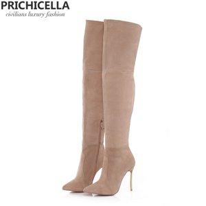 femmes PRICHICELLA fer en cuir véritable talon marron cuisse haute bottes bottillons Gladiator hautes à talons hauts size34-42