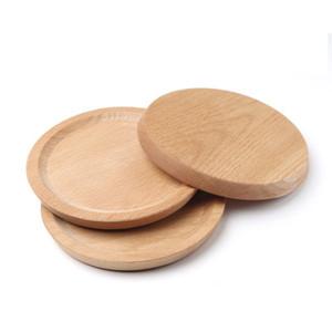 Десерт Бук Пластинчатые тарелка деревянная тарелка Блюдо Площадь Фрукты блюдечке Dish чай сервер круглый лоток Wood подстаканник Bowl Pad Посуда DBC VF1575