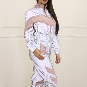 VERTIVE 2020 New Reflective Splicing Suit Gym Fitness Long Sleeve Zipper Up Top Pants Casual Patchwork Outfits Stripe Suit