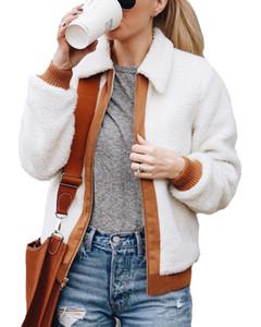 Fluffy Veste d'hiver à manches longues Patchwork Zip Up manteau de veste douce et chaude en polaire Cardigan Fuzzy court Outwear