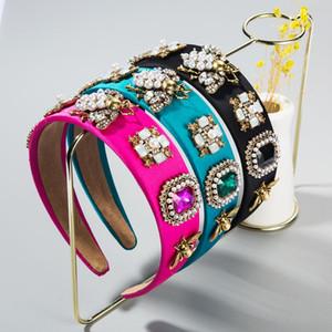 Diadema de cristal colorido barroco para mujer Vintage Simulada Pearl Bumble Bumble Bee Banda de pelo Novia Accesorios para el cabello