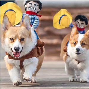 Novelty Dog Costume Halloween Pet Clothes Cowboy Dressing up Jacket Coat for Dogs Funny French Bulldog Chihuahua Pug Clothing