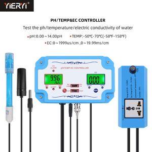 PH / CE / TEMP Tester Meter Detector de Qualidade de Água Detector PH Controlador Relé Plug Replaçável Eletrodo Tipo BNC Sonda dos EUA Plug