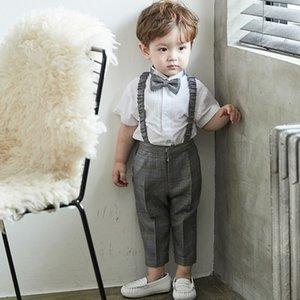 TDtZy 슬링 드레스 소년의 소년의 정장 슬링 서스펜더 바지 아기 소녀의 하나 살 잘 생긴 세 벌의 양복 영국의 여름