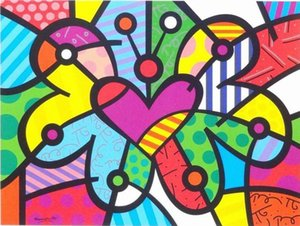 Romero Britto Home Decor Handpainted &HD Print Oil Painting On Canvas Wall Art Canvas Pictures 7612
