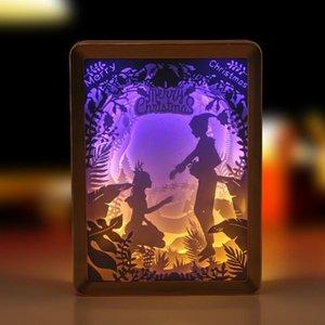 Cadılar Bayramı Noel Ev Dekorasyon G827 için Işık Lambası Oyma Led Lamba Kağıt Heykel Gece Işığı DIY El Yapımı Papercut Kağıt
