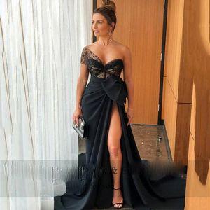 Black Sweetheart One Shoulder Mermaid Evening Dresses HighSplit Side Satin Long Prom Dress with Bow Robe De Soiree