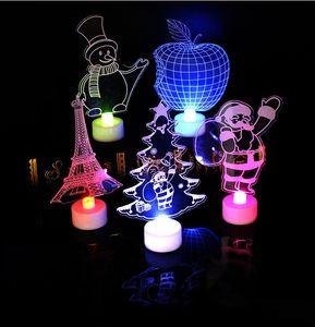 5 styles Fashion Christmas present Creative Santa Claus led night light colorful flash acrylic light 3D night light toy gifts