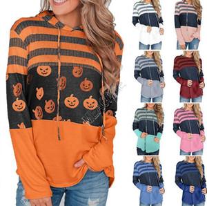 Dia das Bruxas Natal mulheres Hoodies Sweater Camo listrado rena abóbora completo manga com capuz suéter Outono T-shirt Tops D9302