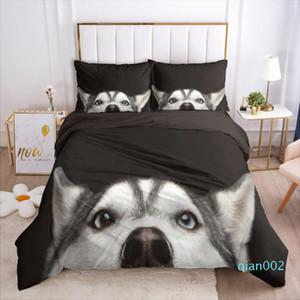 Yi Chu Xin 3D Pet собак Одеяло Обложка и наволочки черного одеяло Комплекта постельных принадлежностей животное пододеяльник Установить кровать в полном размере
