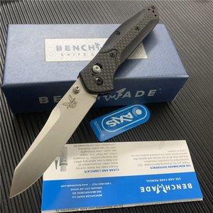 Benchmade BM940 940-1 Osborne Katlama Bıçak S30V Siyah / Saten Düz Blade Karbon pirinç Kol BM535 BM535S bıçak
