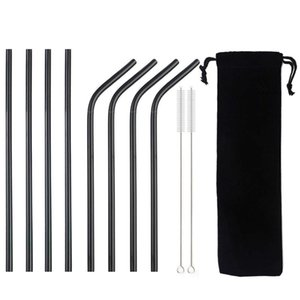 Hot Sale 1 4 8pc Metal Straw Set Reusable Straw 304 Stainless Steel Drinking With Brush Eco-Friendly Black For Mugs