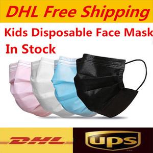 UPS DHL-freies Verschiffen Einweggesichtsmasken Kinder Masken bunte Maske 3 Schicht balck Staubmundmasken Cover 3-Ply freies Verschiffen