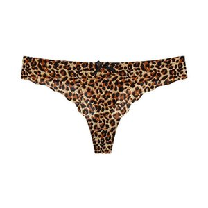 Leopard Sexy String Underwear For Women Ice Silk Soft String T-back Seamless Female G Lingerie Thong Briefs Panties Low-ris N2P7