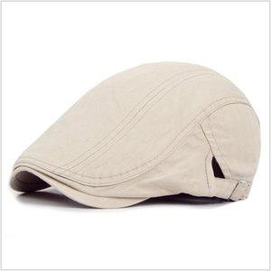 2020 New Hot vente Hommes Femmes Coton Casquettes Chapeaux Respirant Solide Couleur Mode des femmes des hommes Gentleman style Cap plage Chapeaux 10pcs / lot
