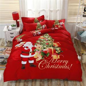Cerfs J3Luxury Christmas Tree Rouge Bleu Literie double / queen size / King 100% ensemble de draps de lit en coton Housse de couette Taie Cadeaux