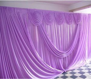 New Design Pure White 10ft*20ft wedding stage decoration Wedding Backdrop with Beatiful Swag drape and curtain