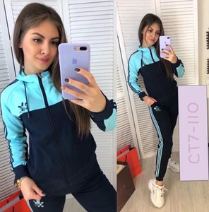 Luxurys Donne Tute Designers due pezzi vestito di sport Zipper Hooded Jacket Coat + Pants Legging Outfit Hoodies Pantaloni del vestito di sudore E82603