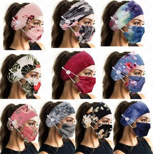 Headbands Máscara Titular Tie Dye Cara da forma com o botão Hairbands Floral Camo Máscaras Mulheres Sports Yoga Bandas Cabelo Elastic DHL grátis