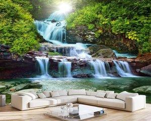 Романтический пейзаж 3d Mural Обои Горный водопад красоты Природный пейзаж Картина фона Украшение стены DH обои