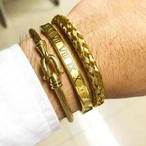 3pcs / Set reais pulseiras romanos Bangles Cabo Fio Amor Bangles For Men Stainless Steel Pulseiras Homens Jóias Acessórios Y200810