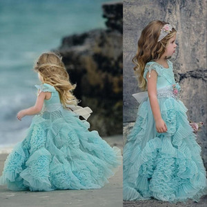 New Cheap Ball Gown Mint Lace Girls Pageant Dresses Short Sleeves Jewel Neck Sashes Crystal Tulle Ruffles Kids Flower Girls Birthday Gowns