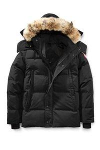 Зима Fourrure Вниз Parka Homme Jassen Верхняя одежда Куртки Wolf Fur Hooded Fourrure манто Уиндем Канада пуховик пальто Hiver Doudoune