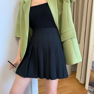 Grande perna longa ferramenta afiada cintura alta plissada A- linha de vestido arma afiada arma de verão das mulheres estilo coreano emagrecimento anti-exposição saia L A-