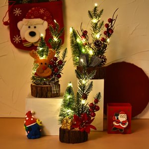 LED Mini Christmas Tree Luminous Wooden Bottom Desktop Christmas Tree Christmas Decorations Xmas Party Ornaments DHE1320