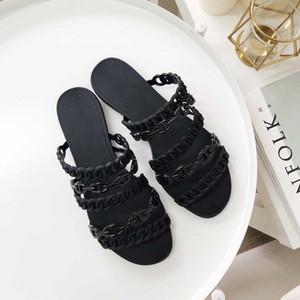 Бесплатная доставка! 2020 Высокое качество Роскошная Тапочки Мода Желе Sandal Для лета женщин вскользь конструктора Вьетнамки Flat Sandy обувь