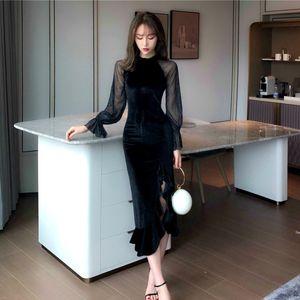 92G0D Francese Hepburn seta argento abito stile lampeggiante maglia del manicotto della lanterna cucitura velluto di media lunghezza spaccato vestito irregolare per le donne