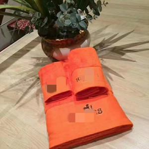 owels de bain H orange Serviette Sets Marque Place Serviette de plage et serviettes de bain 3 pièces 1 jeu Coton Tissu souple Confortable 2020 nouvelle arriv