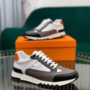 Hermes  2020up New Designer de luxo da marca H Sneakers Top Pele de vaca Moda Homens sapatos confortáveis planas Casual sapatos altos