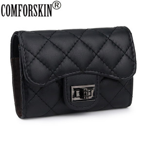 COMFORSKIN Luxurious Sheep Skin Women Business Card Holder New Arrivals Guaranteed Genuine Leather Card Wallet Hot Cases