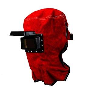 Couro Protect Máscara elétrica cara Welding Red