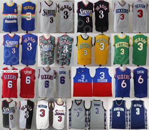 Georgetown Hoyas College-Alle Iverson Trikots Herren-Basketball-Dr J Julius Erving Wilt Chamberlain Blau Grau Schwarz Weiß Rot gute Qualität